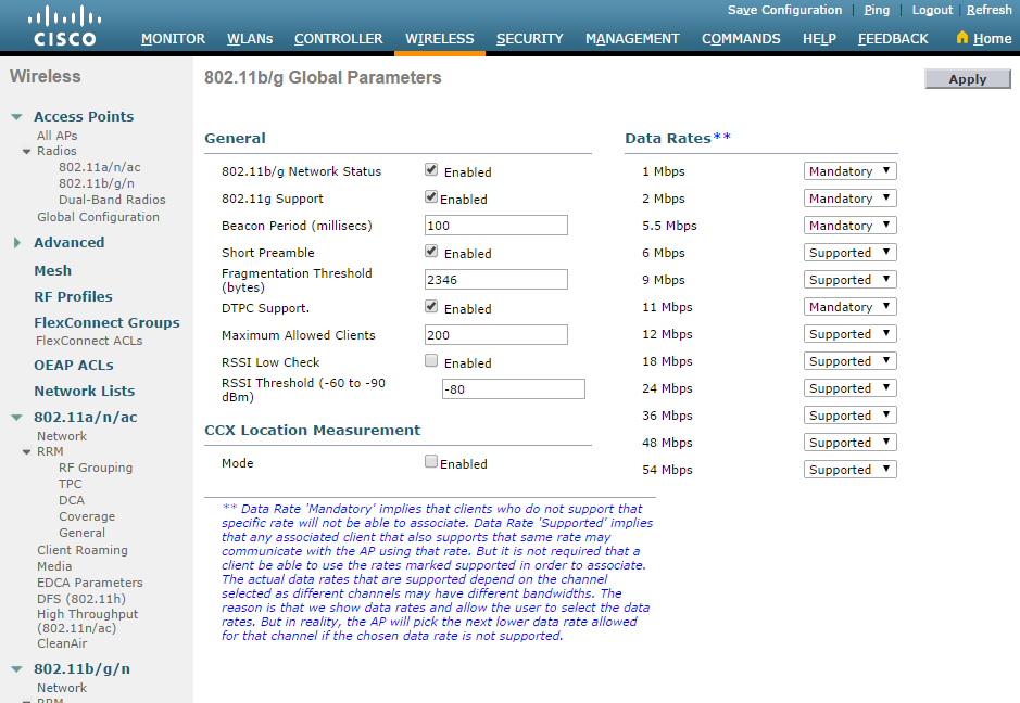 Cisco Wlc Aironet Best Practise On Data Rates Network Guy