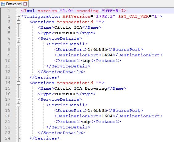 Sophos XG Entities.xml from a tar file