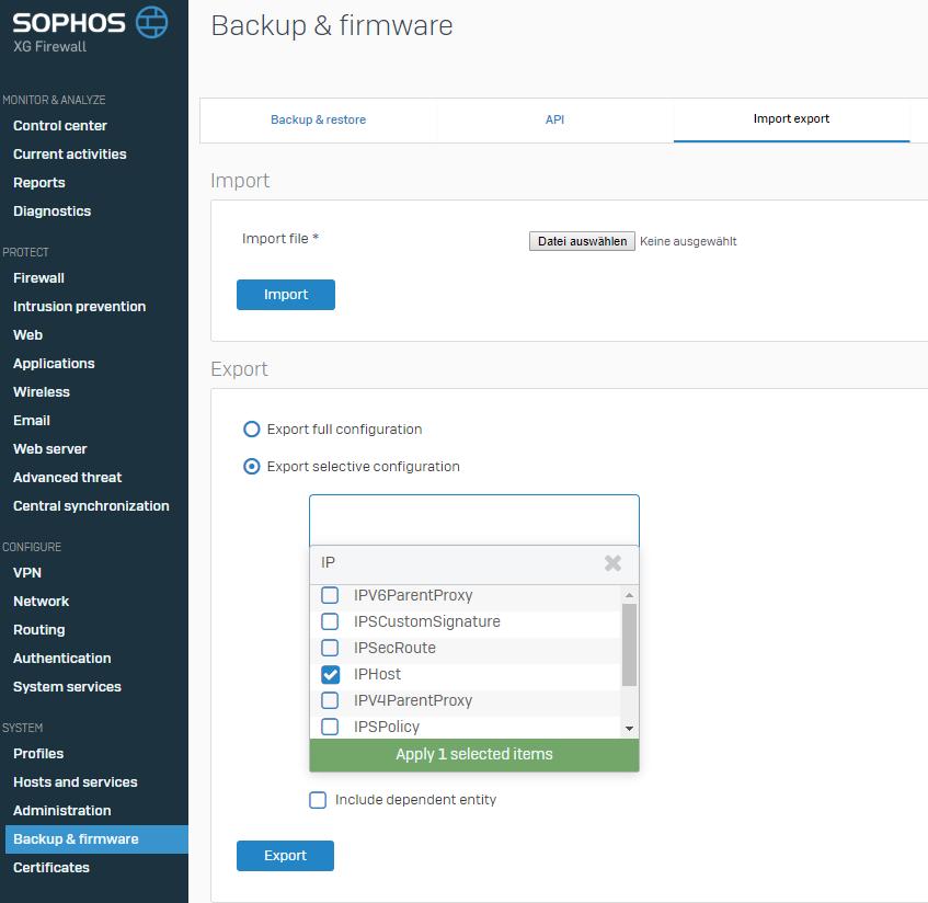Sophos XG export xml configuration to tar